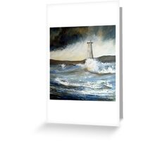 Lighthouse in Rough Seas  Greeting Card