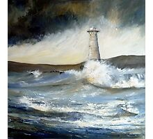 Lighthouse in Rough Seas  Photographic Print