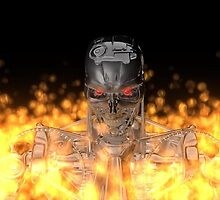 Terminator T-800 In Flame  by DW3DMAYA
