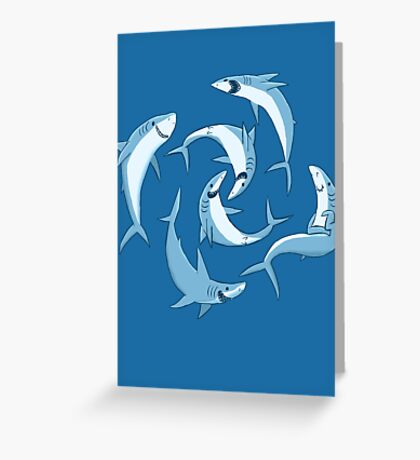 School of Happy Sharks Greeting Card