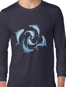 School of Happy Sharks Long Sleeve T-Shirt