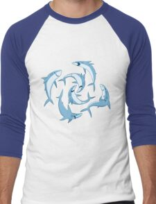 School of Happy Sharks Men's Baseball ¾ T-Shirt