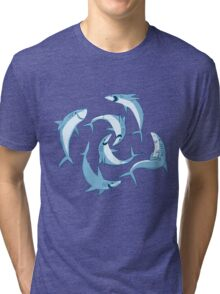 School of Happy Sharks Tri-blend T-Shirt