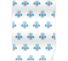 Blue & Red Owl (Pattern) Poster
