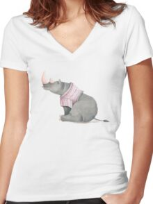 Cute sitting Rhino in knitted jersey. Women's Fitted V-Neck T-Shirt