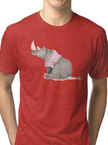 Cute sitting Rhino in knitted jersey. Tri-blend T-Shirt