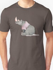 Cute sitting Rhino in knitted jersey. T-Shirt
