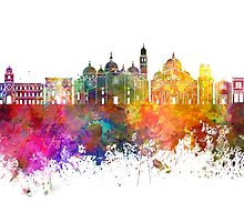 Padua skyline in watercolor background by paulrommer