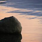 liquid sunset - stone on bank of Derwent Water by monkeyferret