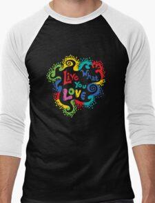 Live What You Love1 (col/col on black) Men's Baseball ¾ T-Shirt
