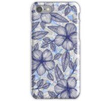 Indigo Summer - a hand drawn floral pattern iPhone Case/Skin