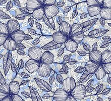 Indigo Summer - a hand drawn floral pattern by micklyn