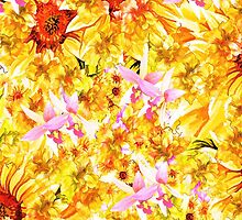 Abstract orange pink orchids sunflowers pattern by Maria Fernandes