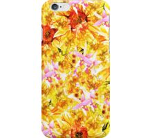 Abstract orange pink orchids sunflowers pattern iPhone Case/Skin