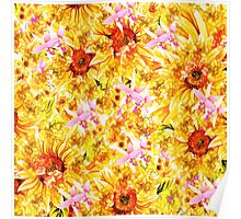 Abstract orange pink orchids sunflowers pattern Poster