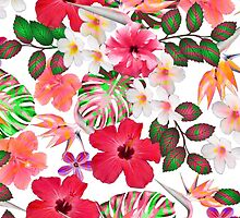 Girly modern pink white trendy tropical flowers  by Maria Fernandes