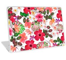 Girly modern pink white trendy tropical flowers  Laptop Skin