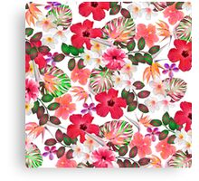 Girly modern pink white trendy tropical flowers  Canvas Print