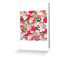 Girly modern pink white trendy tropical flowers  Greeting Card