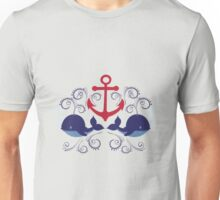 Red Anchor and Whales Unisex T-Shirt