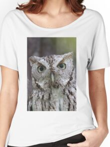 Grey Screech Owl Portrait Women's Relaxed Fit T-Shirt