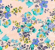 Vintage aqua yellow gray floral pattern by Maria Fernandes