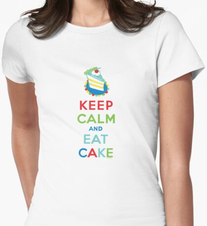 Keep Calm and Eat Cake - on white Womens Fitted T-Shirt