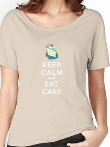 Keep Calm and Eat Cake - on black Women's Relaxed Fit T-Shirt