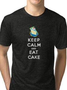 Keep Calm and Eat Cake - on black Tri-blend T-Shirt