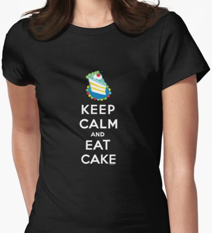 Keep Calm and Eat Cake - on black Womens Fitted T-Shirt