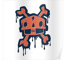 Drippy Skull and Crossbones Poster