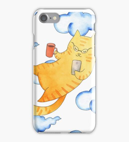 Vector watercolor illustration of cat hipster. iPhone Case/Skin