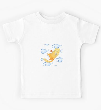 Vector watercolor illustration of cat hipster. Kids Tee