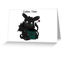 Toothless Chibi Coffee Time  Greeting Card