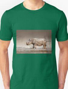 Black Rhinoceros baby running Unisex T-Shirt