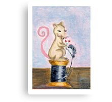 Miss Mouse Knitting Canvas Print