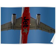 Jetstar A320 Taking Off Overhead Poster