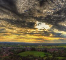 Glastonbury Tor Sunset Panoramic by Nigel Bangert