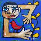 GARDENING WITH THE LOVEBIRD  by ART PRINTS ONLINE         by artist SARA  CATENA
