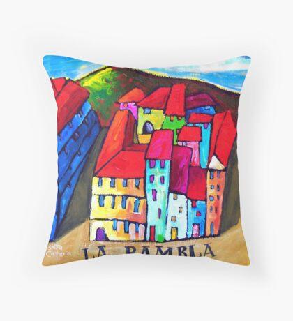 LA  RAMBLA - BARCELONA , SPAIN  Throw Pillow