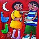 LOVEBIRDS UNDER A NEW MOON  by ART PRINTS ONLINE         by artist SARA  CATENA