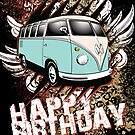 Volkswagen Birthday Card- 23 Window Samba by KombiNation