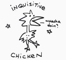 Inquisitive Chicken T shirt.  Kids Clothes