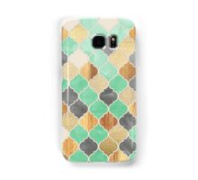 Charcoal, Mint, Wood & Gold Moroccan Pattern Samsung Galaxy Case/Skin