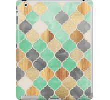 Charcoal, Mint, Wood & Gold Moroccan Pattern iPad Case/Skin