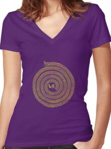 Psychedelic Warli Spiral 1 Women's Fitted V-Neck T-Shirt