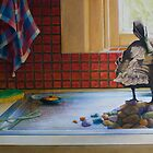 Peeking Duck, oil on canvas, 2006. by fiona vermeeren