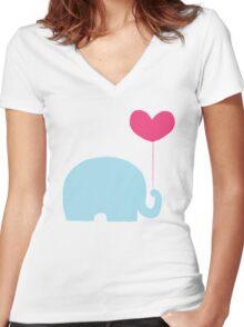 Elephant love Women's Fitted V-Neck T-Shirt