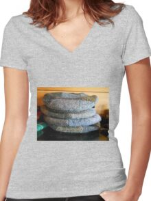 Harris Tweed Caps Women's Fitted V-Neck T-Shirt