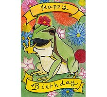 Birthday Card - Frog and Flowers Photographic Print